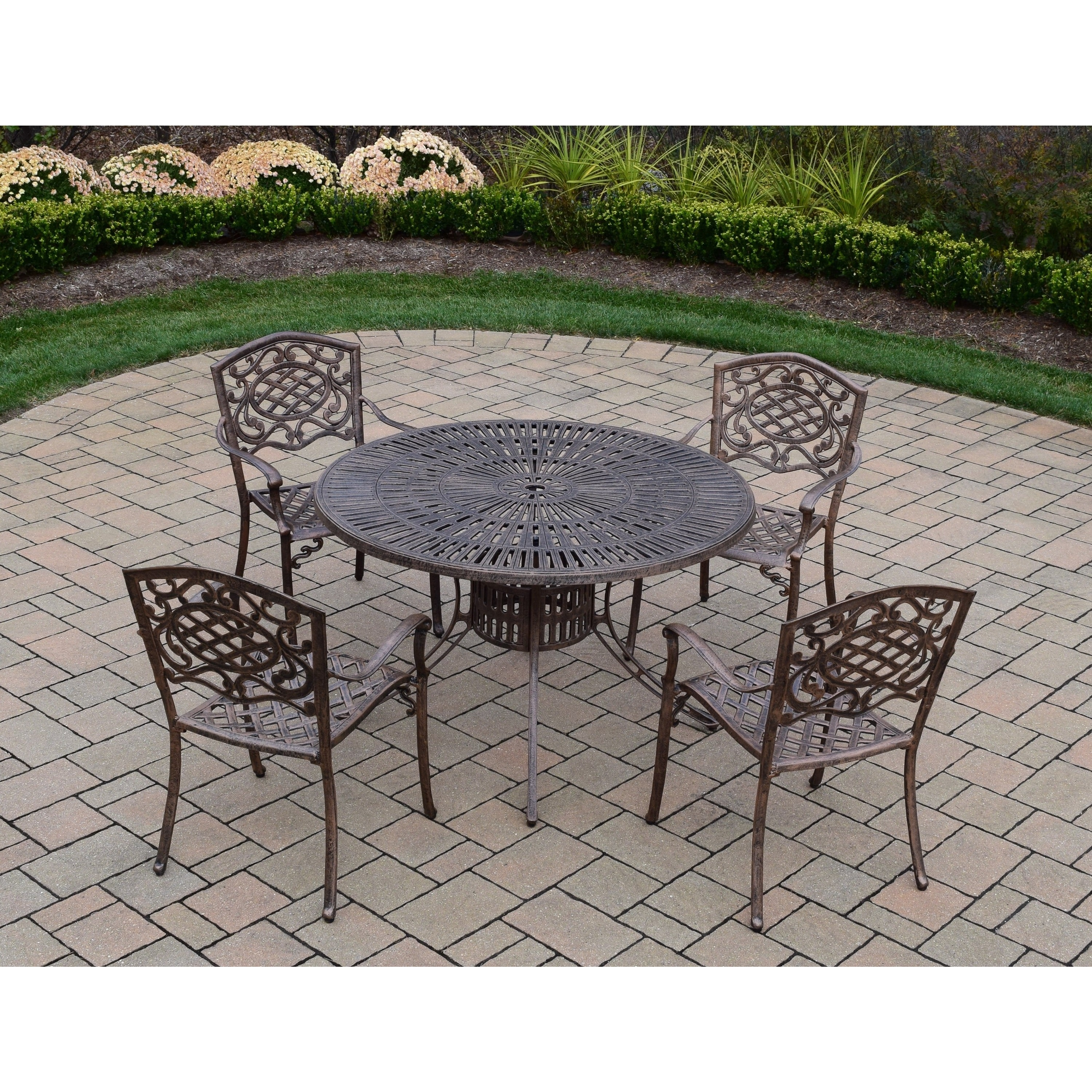 Oakland Living Corporation Cast Aluminum 5-piece Dining Set, with 48-inch Table, and 4 Chairs