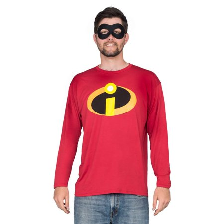 The Incredible Costume (The Incredibles Basicon Red Long Sleeve T-shirt and Mask Costume)