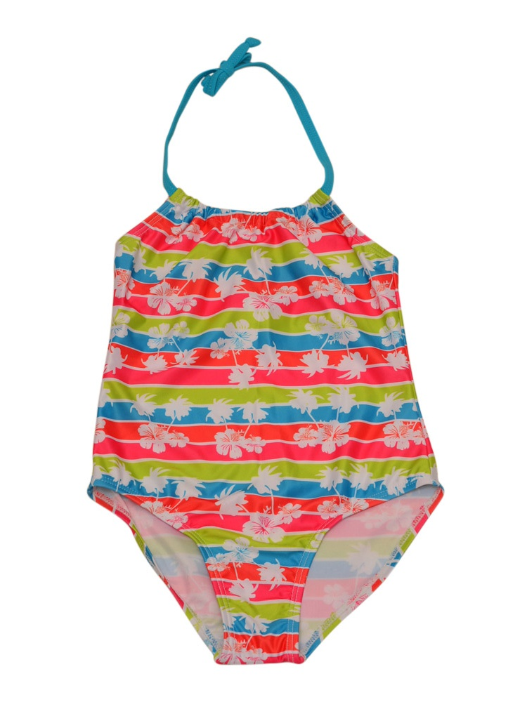 Starfish Little Girls Multi Color Floral Print Trendy One Piece Swimsuit