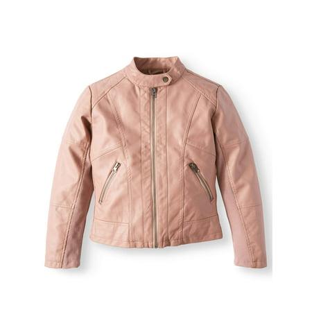 Faux Leather Tab Collar Jacket (Big Girls)