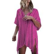Knit Beach Cover up Women Hollow Out Bathing Suit Bikini Swimsuit Swimwear Crochet Dress V Neck Tassel Loose Beach Tops