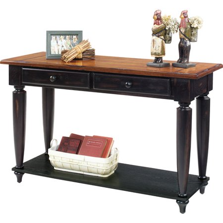 Country vista sofa console table antique black and oak for Sofa table 50 inches
