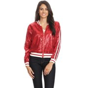 Casual Womens Sequin Long Sleeve Front Zip Jacket with Ribbed Cuffs