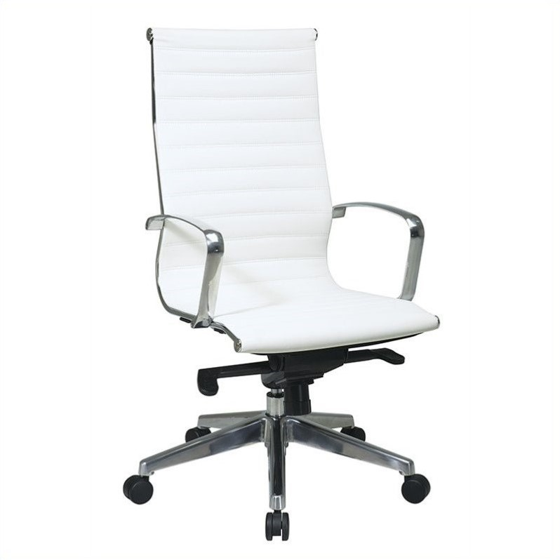 High Back Managers Chair with Eco Leather Back and Seat-Color:White