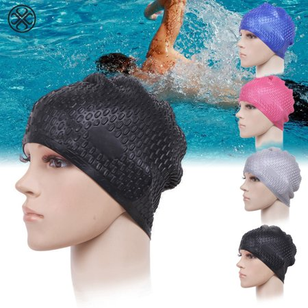 Luxtrada Silicone Swimming Bubble Cap Anti-slip Ear Wrap Waterproof Swim Bath Hat for Adults Men Women Kids Girls Boys Children Youth Long Hair Ladies