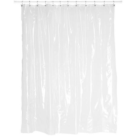 Extra Long 8 Gauge Vinyl Shower Curtain Liner In Super Clear