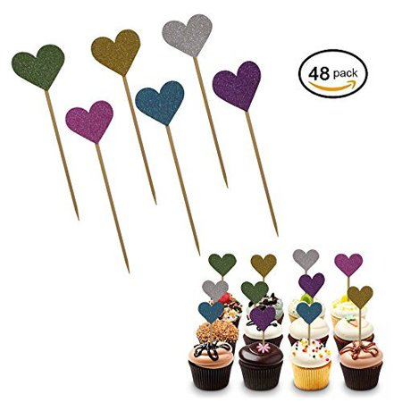 48 Multi Colored Glittery Heart Cupcake Toppers. Love Valentine Cake And Cupcake Decorations. Heart Party Favor Supplies. Great For Weddings, Parties, Holidays, Baby And Bridal Showers And More.