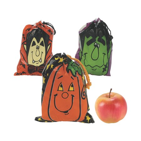 Halloween Goody Bags For School (Fun Express - Drawstring Halloween Goody Bags (lg)-3dz for Halloween - Party Supplies - Bags - Plastic Bags - Halloween - 36)