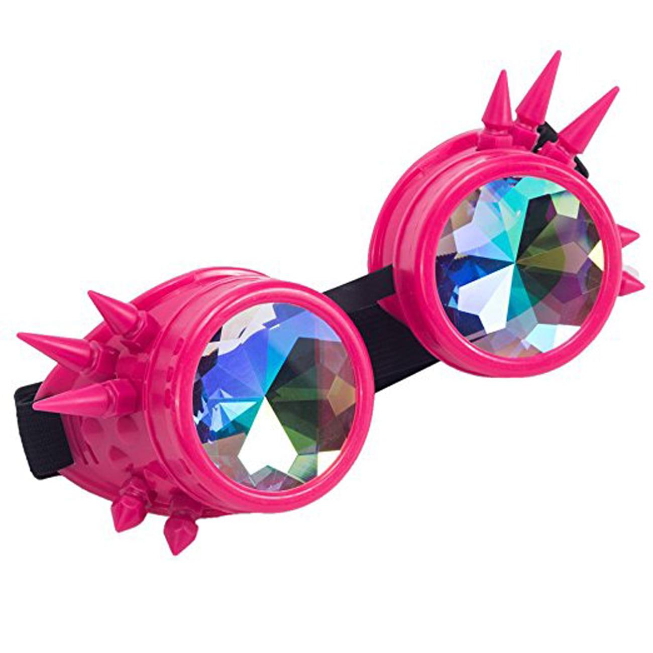 C.F.GOGGLE Vintage Rivet Diffraction Laser Goggles Welding Steampunk Glasses Rainbow Crystal Lens