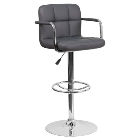 Excellent Flash Furniture Contemporary Quilted Vinyl Adjustable Swivel Bar Stool With Arms And Chrome Pedestal Inzonedesignstudio Interior Chair Design Inzonedesignstudiocom