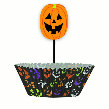 Pumpkin Halloween Cupcake Decorating Kit for 24