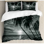 Tropical Duvet Cover Set, Coconut Palm Trees on Beach Bend by the Wind Horizon over the Sea Picture, Decorative Bedding Set with Pillow Shams, Black and White, by Ambesonne