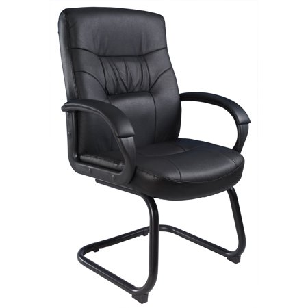Boss Office Products Black Leather Cantilever Base Guest Reception Waiting Room Chair