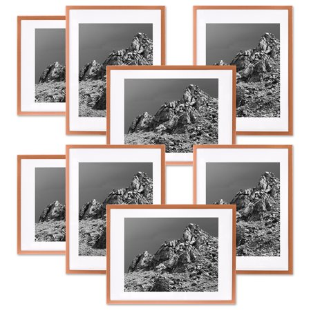Koyal Whole Rose Gold Gallery Wall Frames With White Mats 4 X 6 Picture Frame Bulk 8 Pack Vertical Or Horizontal