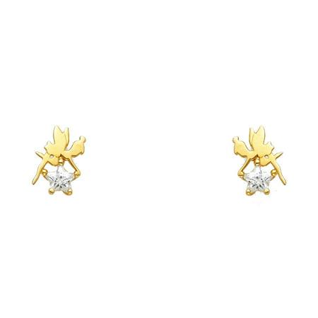 Designer Star Earrings (Ioka - 14K Yellow Gold Star Cut CZ Cute Tiny Tinker Bell Screw Back Stud Earrings )