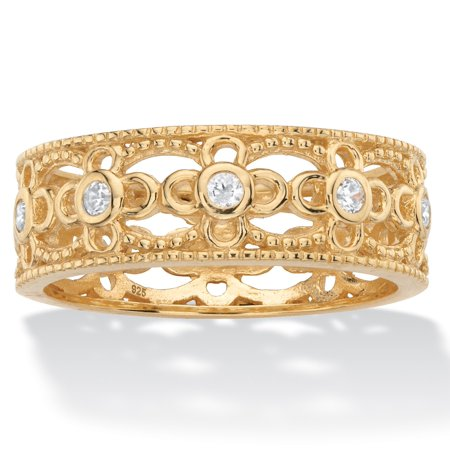 Round Cubic Zirconia Filigree Eternity Ring .25 TCW in 18k Yellow Gold over Sterling Silver