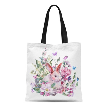 HATIART Canvas Tote Bag Watercolor Spring White Bunny Blooming Branches of Peach Pear Apple Reusable Shoulder Grocery Shopping Bags Handbag - image 1 of 1