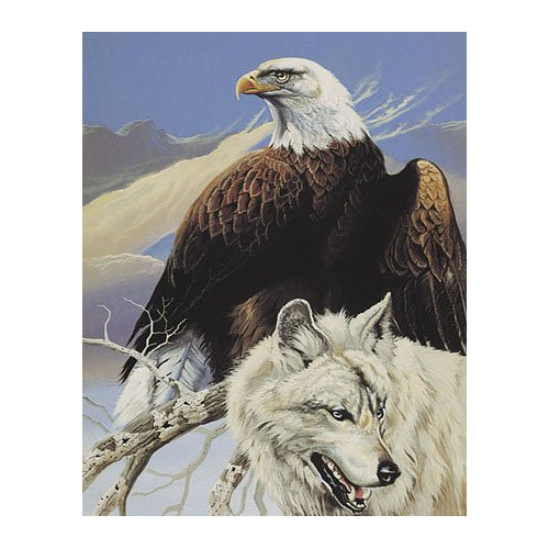 Ben and Jonah Royal Plush Extra Heavy Queen Size Top Hunters - Wolf and Eagle Blanket