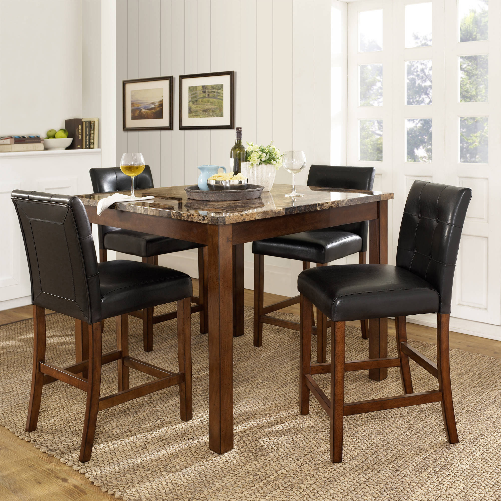 Dining Set 5 Piece Counter High Kitchen Table Wood Furniture Chairs Leather Room 733281688529 Ebay