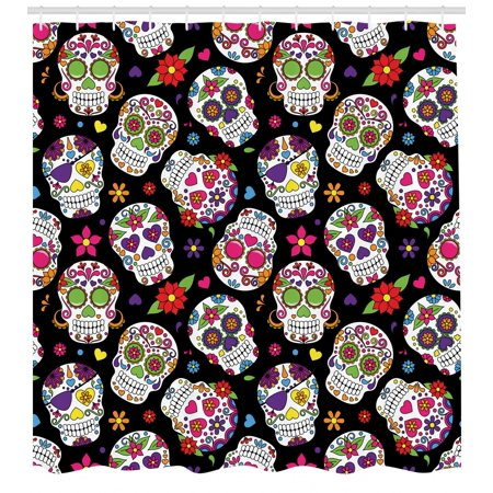 Sugar Skull Shower Curtain Festive Graveyard Mexico Ritual Figures Mask Design On Black Backdrop Print