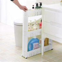 Easyfashion 3 Tiers Slim Mobile Shelving Unit Pull Out Bathroom, Kitchen Storage