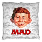 Mad Alfred Head Throw Pillow White 18X18