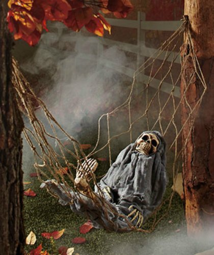 1 X Interactive Skeleton in Hammock spooky Halloween deco...
