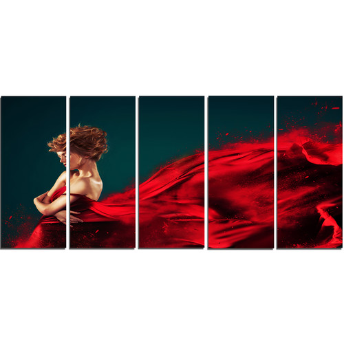 Design Art Woman in Flying Red Dress 5 Piece Wall Art on Wrapped Canvas Set