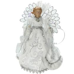 "13"""" Lighted B/O Fiber Optic Angel with White Gown Christmas Tree Topper"