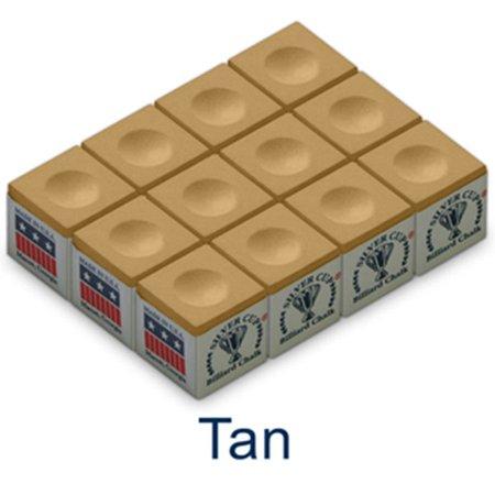 Silver Cup Tan Billiard Chalk 12 Pack Triangle Billiard Chalk