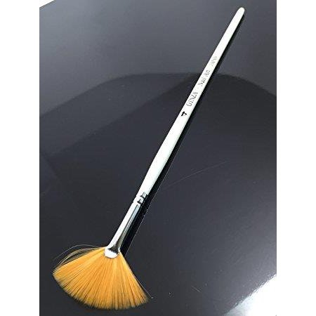 Ginza Orange Fan Nail Art Brush with White Wooden Handle - H04 - White And Orange Halloween Nails