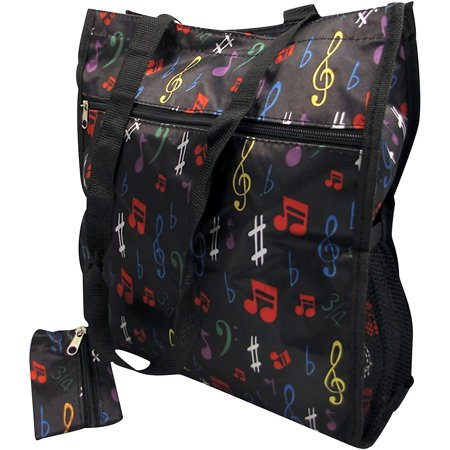 Milano Top Zip Shoulder Bag (AIM Music Notes Satin Zip To Tote Bag With Change Purse - Black )