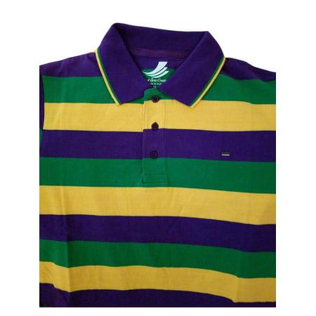 Adult 3X XXXL Mardi Gras Rugby Stripe Purple Green Yellow Knit SS Shirt - Striped Mardi Gras Shirts