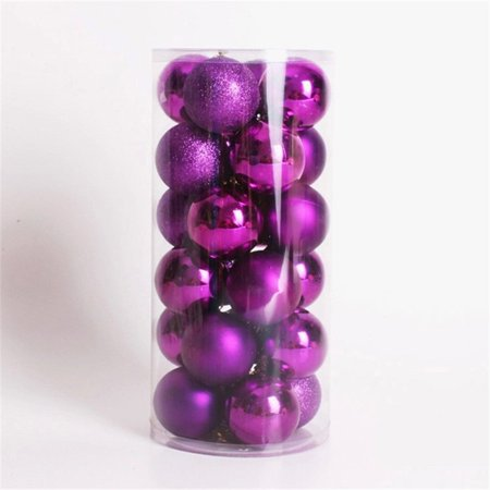 Multicolor Decorative Theme Pack of Exquisite Christmas Balls Ornaments for Tree Decoration Decor Ball (Purple), 24pcs Pack
