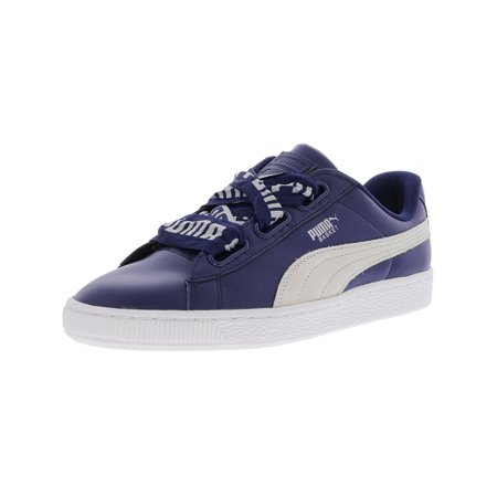 Puma Women's Basket Heart De Blue Depths / White Leather Fashion Sneaker - 7M (Queen Of Hearts Shoes)