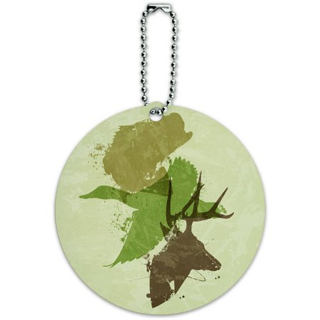 - Hunting Fishing Design Deer Duck Bass Trout Camo Round Luggage ID Tag Card for Suitcase or Carry-On