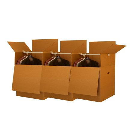 Uboxes Wardrobe Moving Boxes, 24x24x34in, 3 Pack, Tall Boxes (Coat Moving Box)