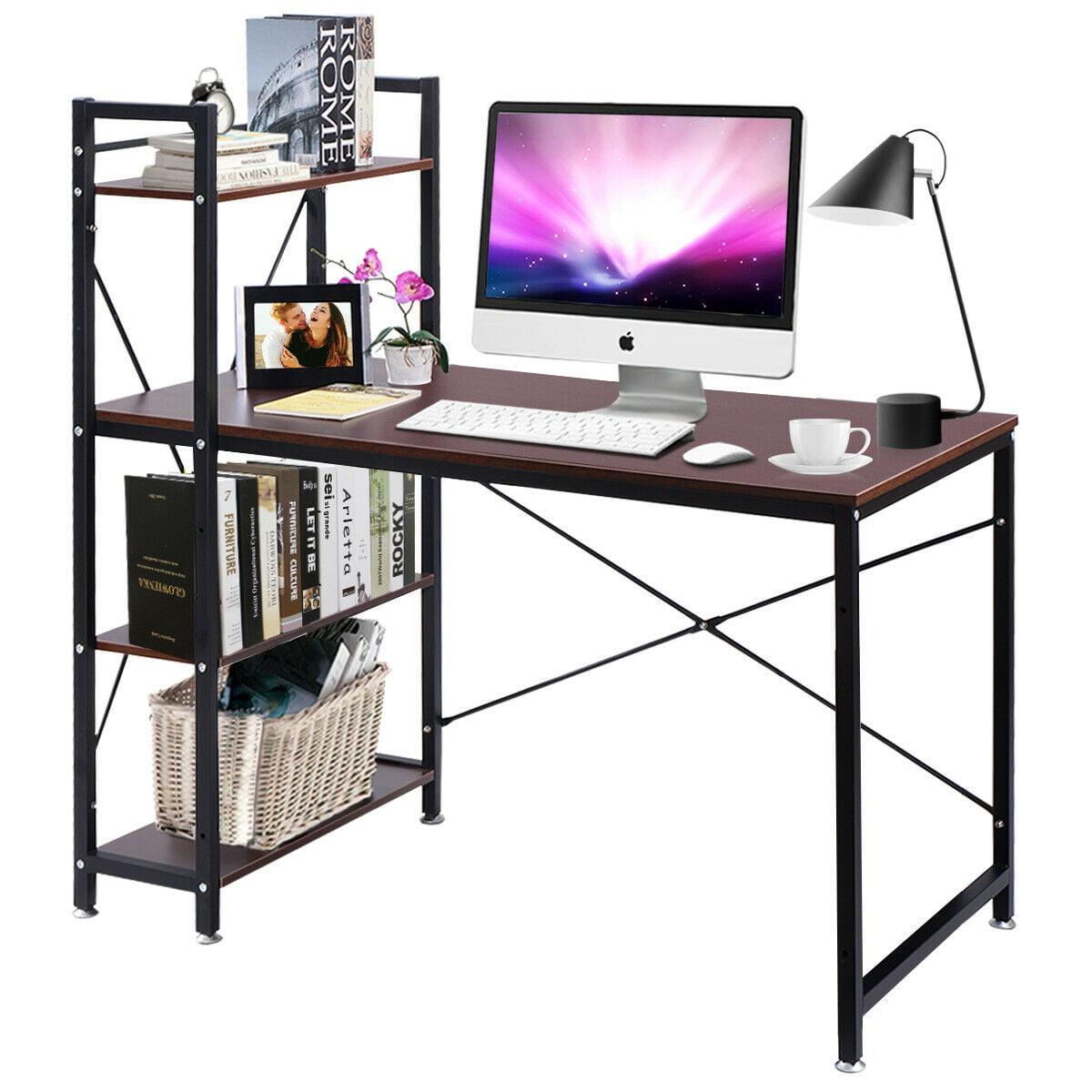 - Modern Computer Desk W/ 4-Tier Shelves PC Workstation Study Home