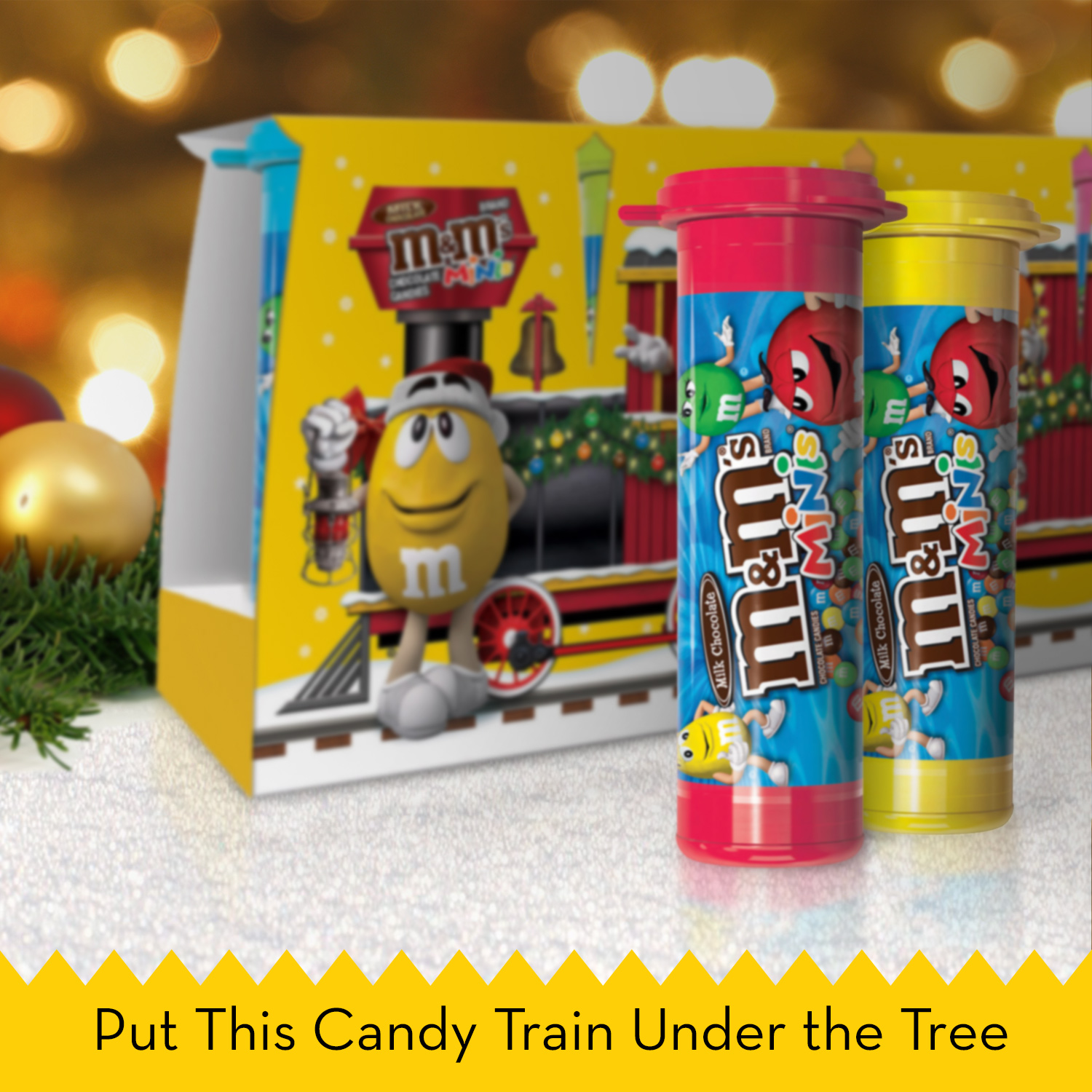 M&M s Holiday Milk Chocolate Minis Size Christmas Candy In A Tube