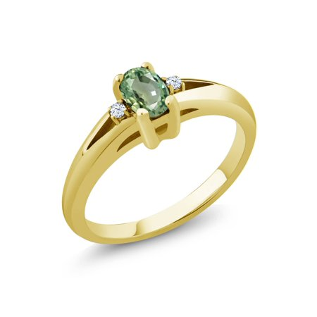 0.59 Ct Oval Green Sapphire White Topaz 18K Yellow Gold Plated Silver Ring