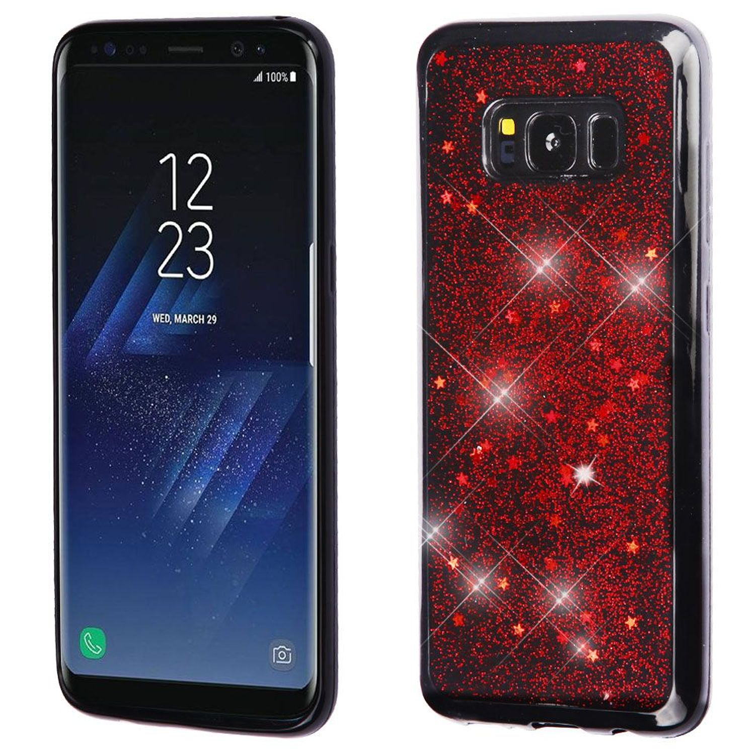 Samsung Galaxy S8+ Case, Samsung Galaxy S8 Plus Case, by Insten Starry Sky TPU Gel Case Phone Cover For Samsung Galaxy S8 Plus S8+, Red/Black