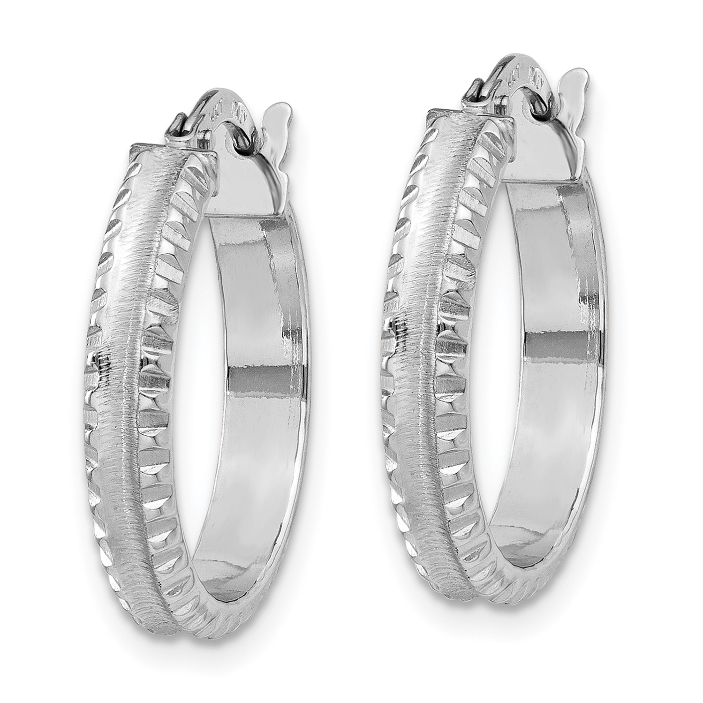 14K White Gold Polished/Satin Ridged Edge Concave Hoop Earrings - image 2 de 4