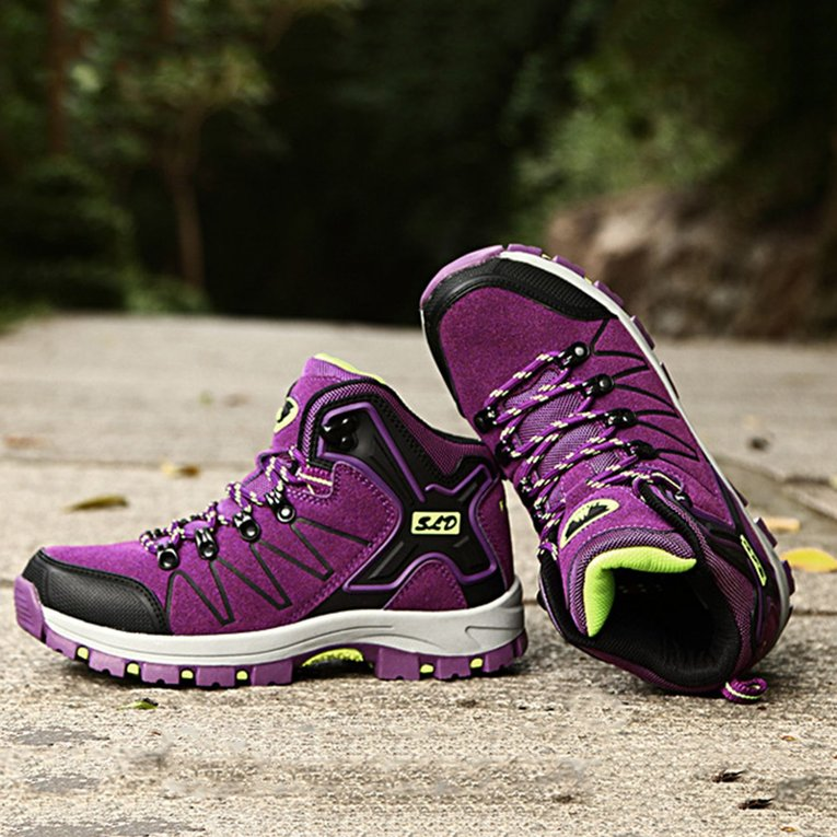 Click here to buy Outdoor Leather Anti-slip Waterproof Hiking Boots Women Lace-up Sports Shoes.
