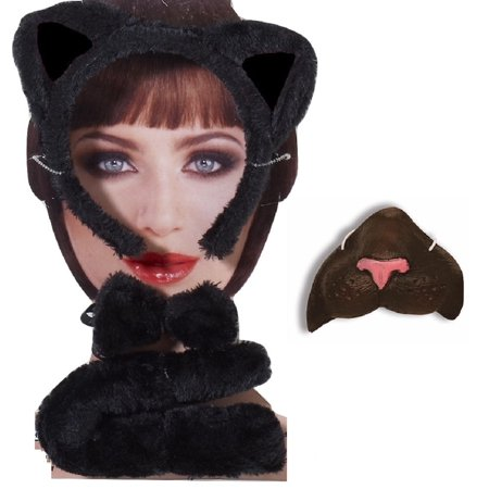 Kitty Cat Mask (Black Kitty Cat Kit Mini Nose Mask Ears Headband Tail Animal Costume)