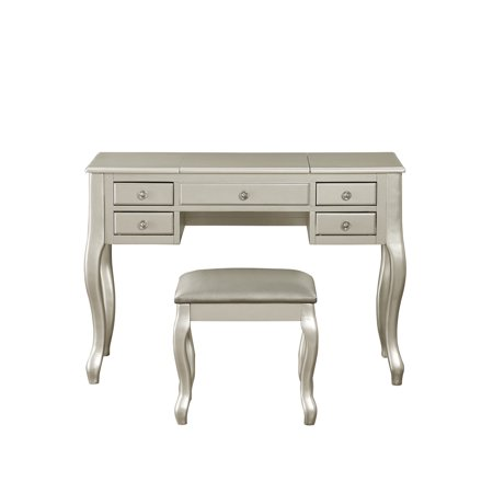 Bobkona Cailyn Flip Up Mirror vanity Set with Stool in Silver