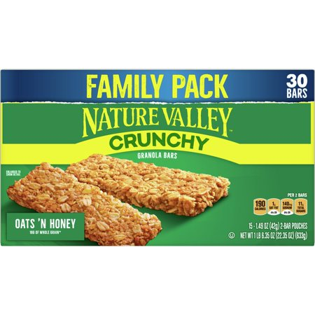 Nature Valley Crunchy Granola Bars, Oats 'n Honey, 30 Ct Family Pack, 22.35 Oz