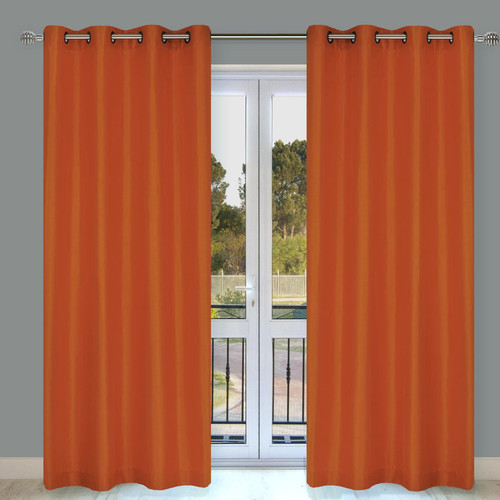 LJ Home Silkana Faux Silk Grommet Curtain Panel (Set of 2)