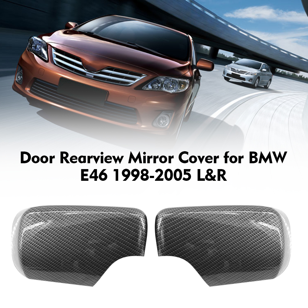 MuLuo Left Rearview Mirror Cover Housing Casing View Mirror Cap Replacement for BMW E46 4-Door 1998-2005 51168238375