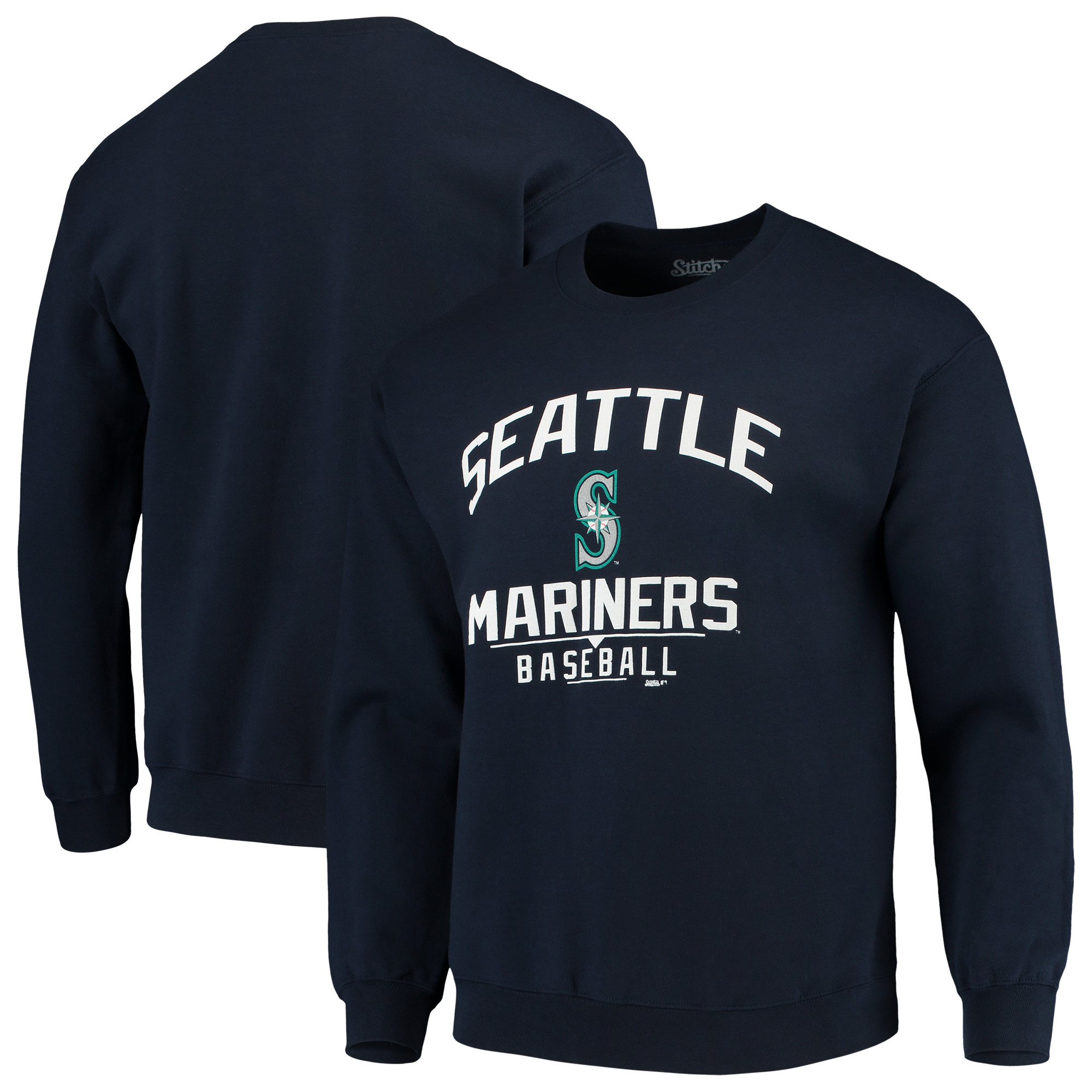 Seattle Mariners Stitches Holiday Pullover Crew Sweatshirt - Navy