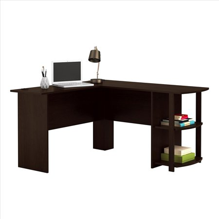 Ktaxon L-Shaped Computer Desk Office Workstation Laptop Wooden Table 2-layer Bookshelves